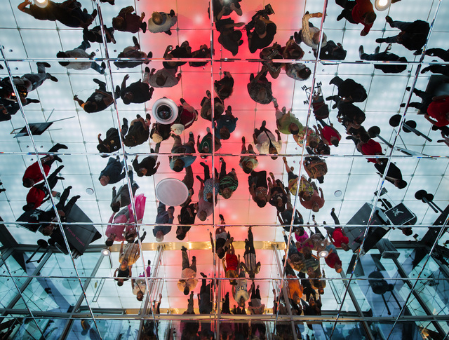 Reflection of people while they enter SLS Las Vegas   on Saturday, Aug. 23, 2014. The $415 million  development on the corner of Sahara Avenue and Las Vegas Boulevard opened at midnight.(Jeff Sche ...