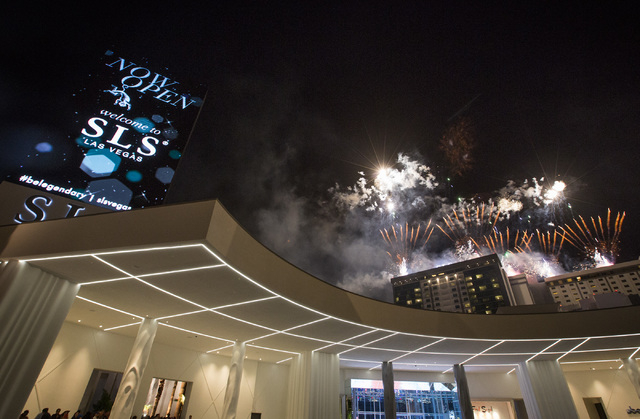 Fireworks celebrating the opening SLS Las Vegas on Saturday, Aug. 23, 2014. The $415 million development on the corner of Sahara Avenue and Las Vegas Boulevard opened at midnight Friday. (Jeff Sch ...