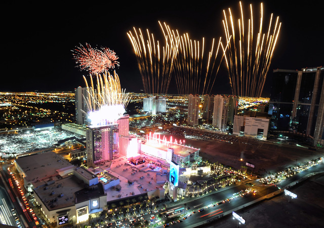 Fireworks explode over the SLS Las Vegas during their grand opening celebration on Saturday, Aug. 23, 2014. The 1,620-room Strip resort, a renovation of the aging Sahara, that closed in 2011 opene ...