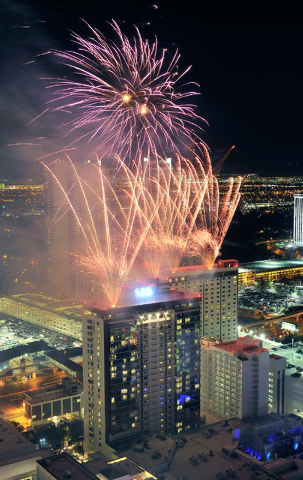 Fireworks explode over the SLS Las Vegas during their grand opening celebration on Saturday, Aug. 23, 2014. The 1,620-room Strip resort, a renovation of the aging Sahara that closed in 2011, opene ...