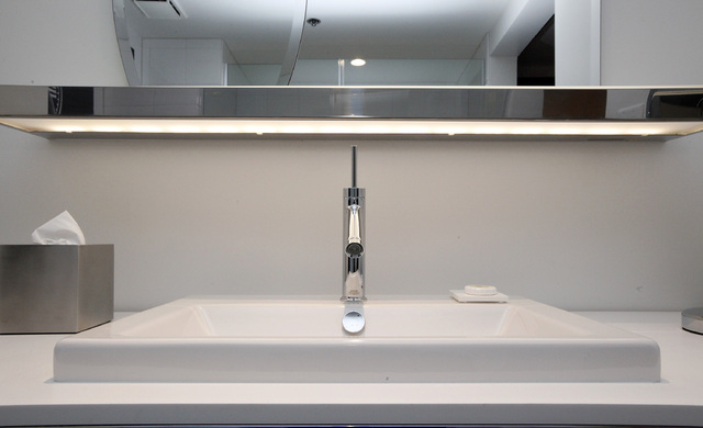 a bathroom sink in a room at sls in las vegas on thursday august 7 - Bathroom Accessories Las Vegas