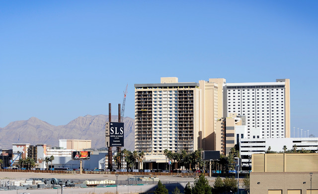 The construction site of the new SLS Las Vegas, formerly the Sahara hotel-casino, is seen Wednesday, Feb. 5, 2014. SBE Entertainment CEO Sam Nazarian, owner of the Las Vegas Strip property, announ ...