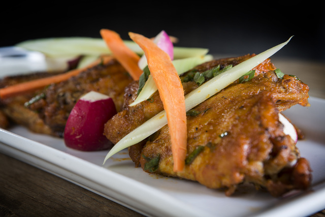 Butcher Style Chicken Wings as seen Monday, Aug. 18, 2014, at Made L.V. in Tivoli Village. These are sriracha style wings.  (Jeff Scheid/Las Vegas Review-Journal)