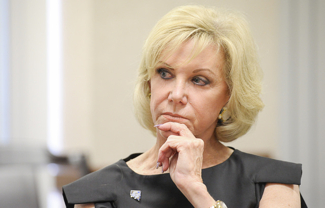 Nevada Board of Education President Elaine Wynn speaks to the Las Vegas Review-Journal editorial board about the Nevada Ready! campaign on Wednesday, Aug.13, 2014. (Mark Damon/Las Vegas Review-Jou ...