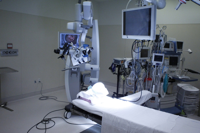 A surgery room similar to the one Dr. Bohdan Chopko used to perform a skull based approach surgery to a tumor is seen at St. Rose Dominican Hospital San Martin campus, 8280 W. Warm Springs Road, i ...