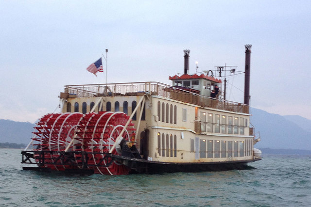 The Tahoe Queen tour boat was stranded on a sandbar on the California side of Lake Tahoe on Monday, Aug. 4, 2014. About 300 people on the boat were rescued and taken back to a marina after the ves ...