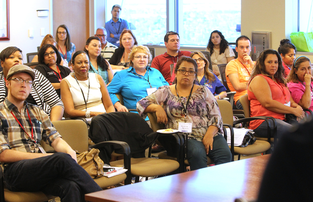People attend a Southern Nevada Teen Pregnancy Prevention Coalition forum at North Las Vegas City Hall Thursday, Aug. 7, 2014. The forum addressed strategies to reduce teen pregnancy rates, improv ...