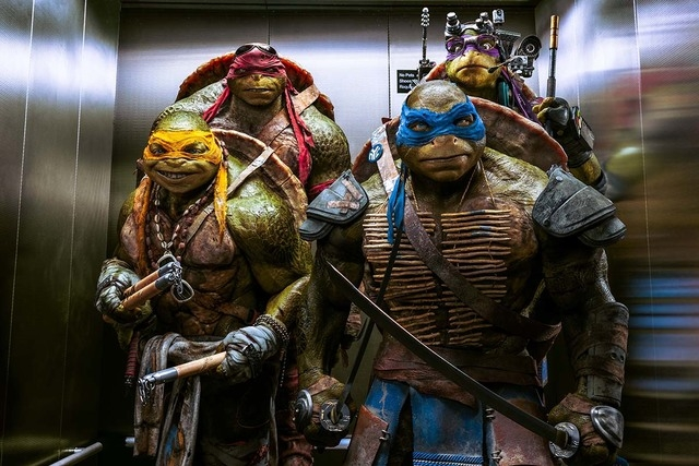 "From left, Michelangelo, Raphael, Leonardo and Donatello appear in a scene from ""Teenage Mutant Ninja Turtles."" (Courtesy Paramount Pictures and Nickelodeon Movies)"