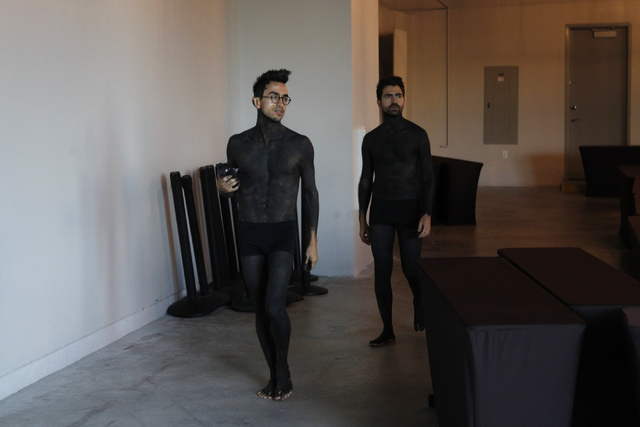 """Brian """"Taxiplasm"""" Gonzalez, left, and Renzo Vitale get ready for their performance """"Tell Me Your Secrets"""" at P3 Studio at The Cosmopolitan of Las Vegas on Saturday, Aug. 16, 2014. (Erik Verduzco/L ..."""