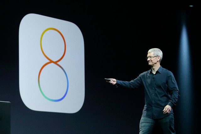 "Apple CEO Tim Cook speaks about iOS 8 at the Apple Worldwide Developers Conference in San Francisco, June 2, 2014. Apple Inc. invited the media to a ""special event"" in its hometown of Cupertin ..."