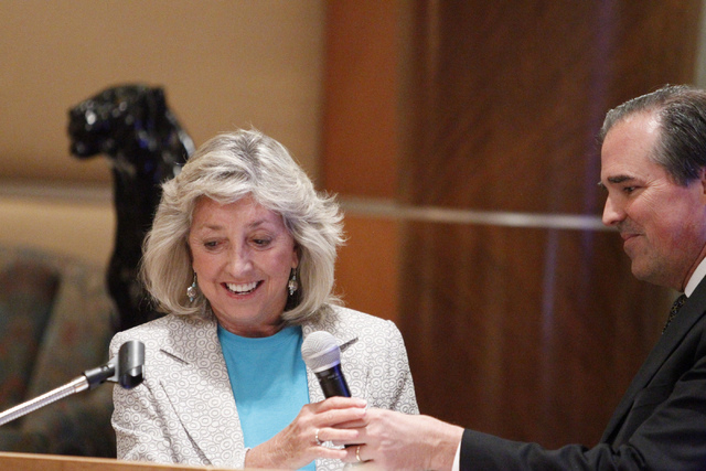 U.S. Rep. Dina Titus, D-Nev., left, is introduced by John Laub, president of the nonprofit advocacy group Las Vegas Medical Marijuana Association, during an association luncheon at Lawry's The Pri ...