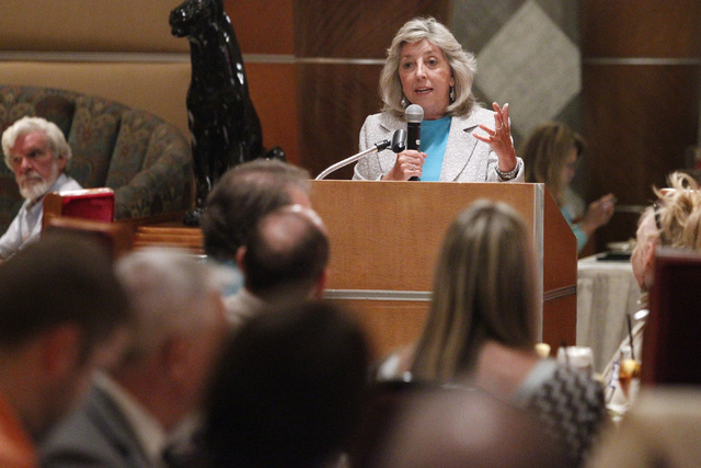 U.S. Rep. Dina Titus, D-Nev., speaks during a Las Vegas Medical Marijuana Association luncheon at Lawry's The Prime Rib restaurant in Las Vegas Wednesday, Aug. 27, 2014. (Erik Verduzco/Las Vegas R ...