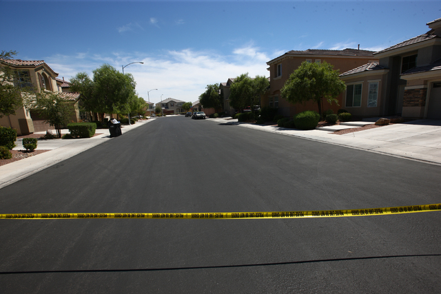 North Las Vegas police respond to a home where a 20-month-old boy is in extremely critical condition after being found in a swimming pool at a home in the 7000 block of Seabird Place, near Elkhorn ...
