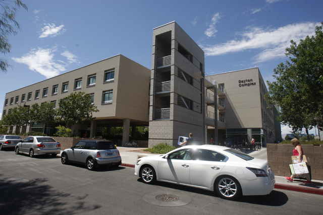 Dayton Complex residence halls at UNLV in Las Vegas is seen during freshmen move in day Wednesday, Aug. 20, 2014. (Erik Verduzco/Las Vegas Review-Journal)