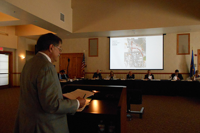 UNLV official Gerry Bomotti addresses UNLV stadium board about the proposed relocation of Swenson Street to accommodate new football stadium site on campus next to Thomas & Mack Center. (Alan Snel ...