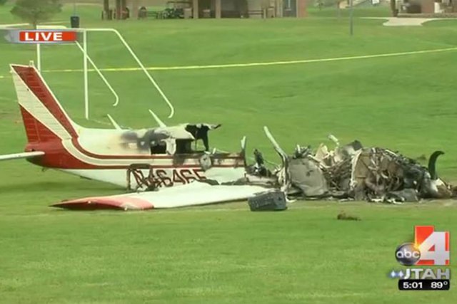 Three Good Samaritans pulled three people out of a small plane before it burst into flames after the aircraft crashed Sunday morning on a soccer field in a Salt Lake City suburb. (Courtesy/good4ut ...
