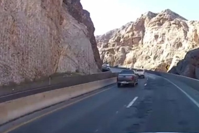 Vehicles on Interstate 15 travel through the Virgin River Gorge. (Courtesy, Arizona Department of Transportation)