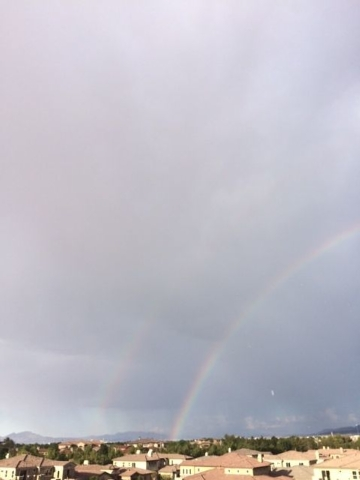 A rainbow is seen from Henderson after Wednesday's storm. (D'Amber Thomas/submitted via At the Scene on the RJ app)