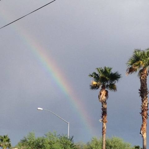 A rainbow is seen from West Craig Road in North Las Vegas after a storm Wednesday. (Deyla Sanchez/submitted via At the Scene on the RJ app)