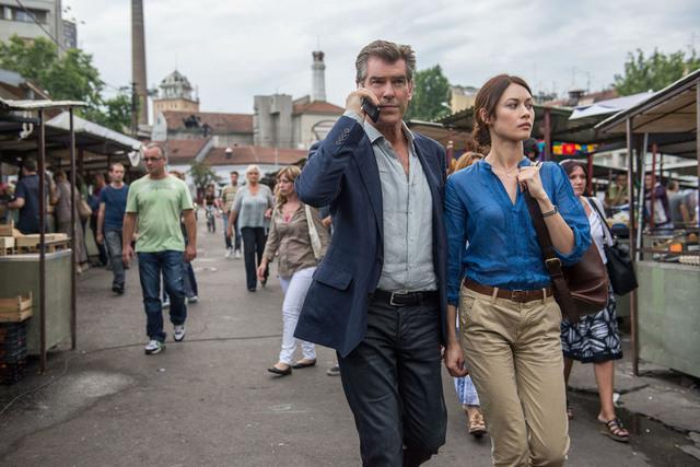 "Pierce Brosnan, from left, and Olga Kurylenko star in Relativity Media's ""The November Man."" (Aleksandar Letic/Courtesy)"