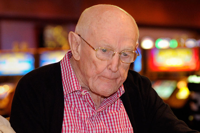 Casino legend Jackie Gaughan is shown playing poker on his 92nd birthday at the El Cortez hotel-casino on Oct. 24, 2012. (David Becker/Las Vegas Review-Journal)