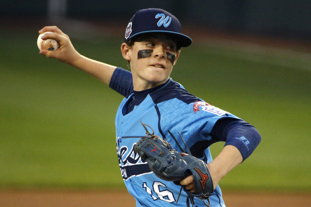 Las Vegas pitcher Brad Stone delivers during the first inning of a United States semi-final baseball game against Philadelphia at the Little League World Series tournament in South Williamsport, P ...