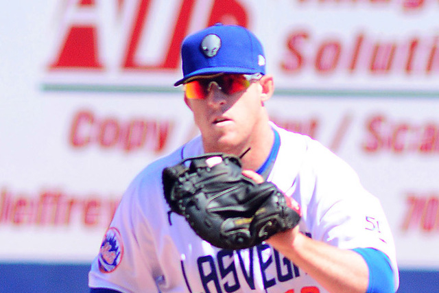 51s first baseman Allan Dykstra, a fair-skinned redhead, is careful about exposure to the sun and has gotten into the habit of applying sunscreen before every game. (Courtesy Las Vegas 51s)