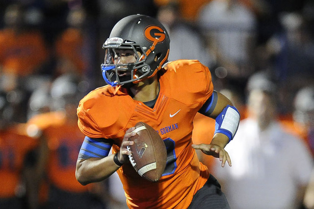 Quarterback Danny Hong and Bishop Gorman put their No. 1 USA Today ranking on the line against Servite (Calif.) on Friday night.(Josh Holmberg/Las Vegas Review Journal)