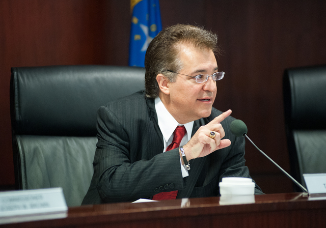 Nevada Gaming Commission Chairman Tony Alamo Jr. speaks during a Nevada Gaming Commission meeting at the Grant Sawyer State Building in Las Vegas on Thursday, July 24, 2014. The meeting was Alamo' ...