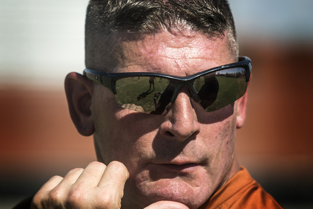 Legacy High School's new coach John Isola during practice on Tuesday, Aug. 26, 2014.  The Longhorns will begin their season on Friday with a game at St. George, Utah. (Jeff Scheid/Las Vegas Review ...