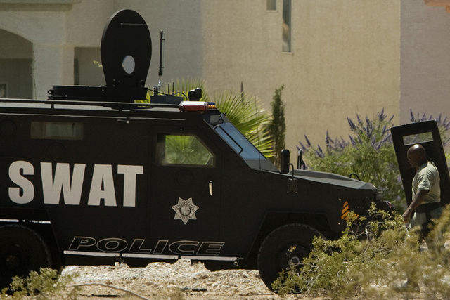 Las Vegas police and SWAT team officers are responding to a situation near Stewart Avenue and Nellis Boulevard. (Review-Journal File Photo)
