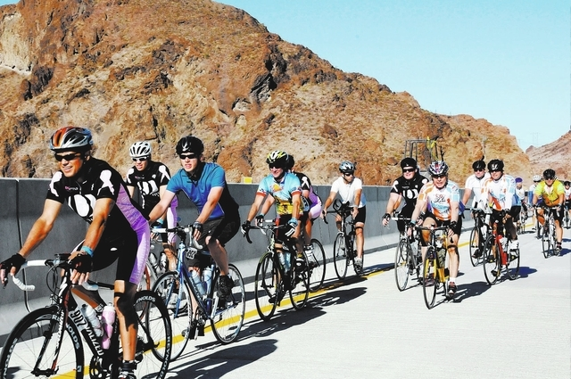 Cyclists make pace during the Regional Transportation Commission (RTC) Viva Bike Vegas 2010 bicycle race on Saturday, Oct. 9, 2010. About 2,000 riders from 30 states and Canada took part in the 11 ...