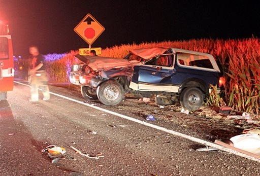 This Sept. 14, 2014 photo provided by the Ada County, Idaho, Sheriff's Office shows a Ford Bronco after it crashed with five teenagers aboard, after authorities say one of the passengers lit the d ...