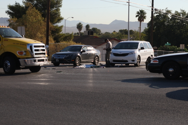 Two people suffered minor injuries in an accident on Tuesday, Sept. 16, 2014, at Hacienda Avenue and Mountain Vista Street. (Michael Quine/Las Vegas Review-Journal)