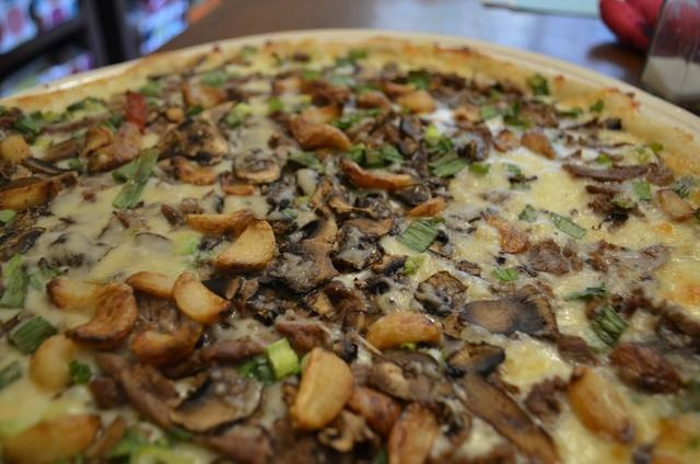 The Angus steak and roasted garlic pizza from Papa Murphy's Take 'N' Bake Pizza is shown. (Ginger Meurer/View)