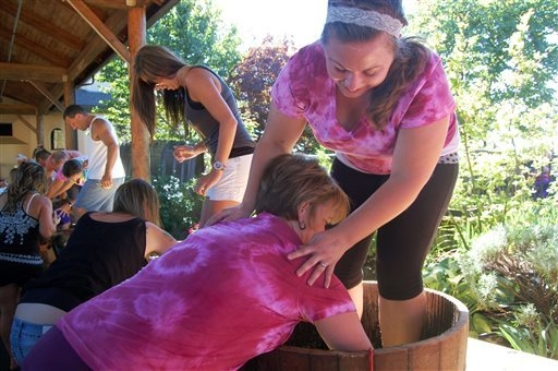 "The team that named itself ""12-Inch Pinots,"" halfway through a grape stomp on Saturday, Sept. 20, 2014 at the Willamette Valley Vineyards in Turner, Oregon. The annual Grape Stomp draws  ..."