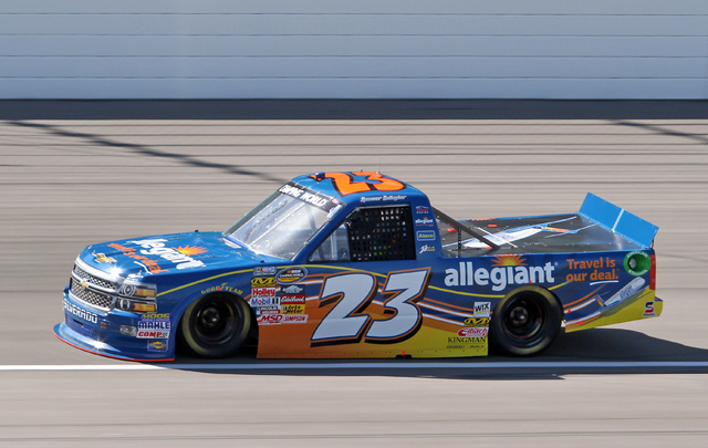 09 May 2014--Spencer Gallagher during qualifying for the SFP 250 at the Kansas Speedway in Kansas City, KS.  (HHP photo/Alan Marler)
