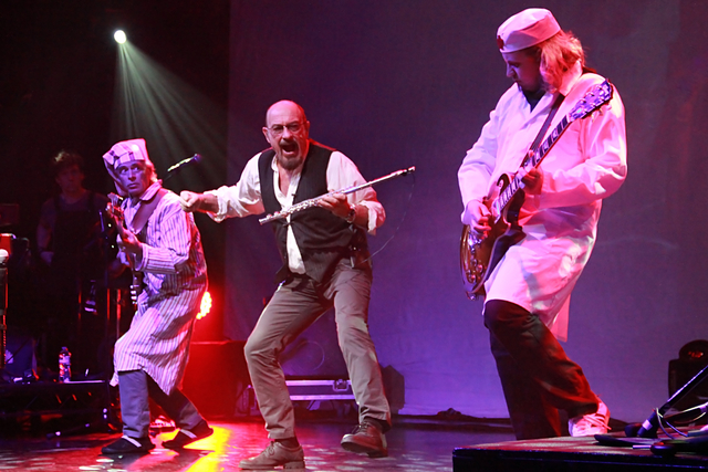 Theatrical rocker Ian Anderson, center, says it's the artist's responsibility to make sure an audience will sit through new material. (Courtesy)