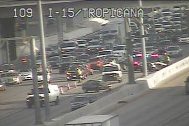 A vehicle crash on southbound Interstate 15 near Tropicana Avenue is tying up traffic Friday morning, according to the Nevada Highway Patrol. (Courtesy/RTC, FAST cameras)