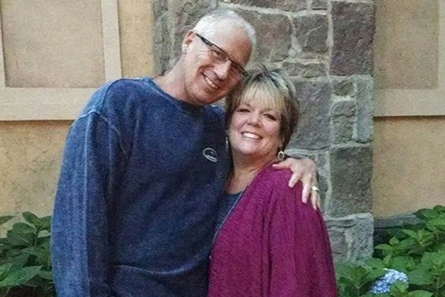 Randy Budd and his wife, Sharon Budd, a middle school language arts teacher. Sharon Budd, of Uniontown, suffered severe head injuries when the football-sized rock crashed through the windshield of ...