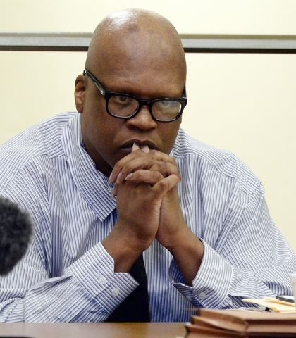 Leon Brown listens to evidence during a court hearing for him and his brother, death row inmate Henry McCollum Tuesday, Sept. 2, 2014 in Lumberton, N.C. On Tuesday, a judge overturned the convicti ...