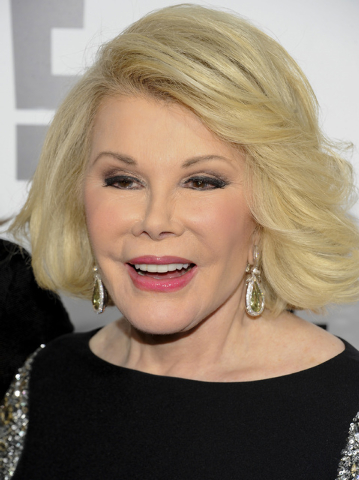 FILE - In this April 30, 2012 file photo, Joan Rivers attends an E! Network event in New York. Joan Rivers family said the comedian has been moved from intensive care into a private room, where sh ...