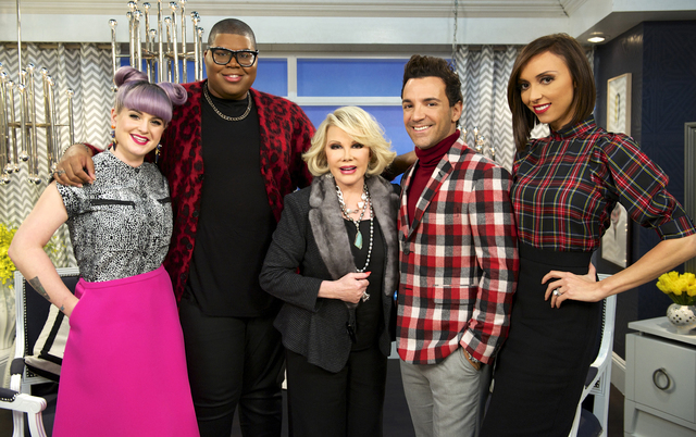 "This image released by E! Entertainment shows, from left, Kelly Osbourne, EJ Johnson, Joan Rivers, George Kotsiopoulos, and Giuliana Rancic on the set of ""Fashion Police."" Taping for Joa ..."
