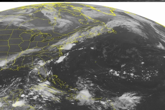 This NOAA satellite image taken Sunday, Sept. 7, 2014 at 1:45 a.m. EDT shows a cold front across the Northeast, Mid Atlantic, Tennessee Valley and the Lower Mississippi Valley producing thundersto ...