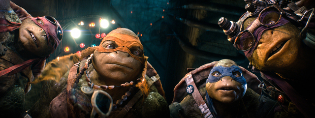 """This image released by Paramount Pictures shows characters, from left, Raphael, Michelangelo, Leonardo, and Donatello in a scene from """"Teenage Mutant Ninja Turtles."""" (AP Photo/Paramount  ..."""