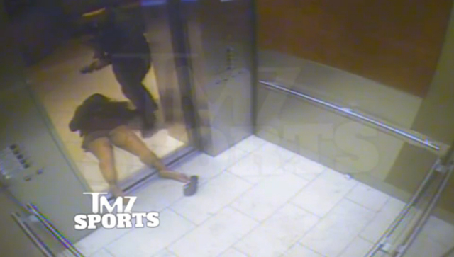 In this still image taken from a hotel security video released by TMZ Sports, Baltimore Ravens running back Ray Rice drags his fiancee, Janay Palmer, out of an elevator moments after knocking her  ...