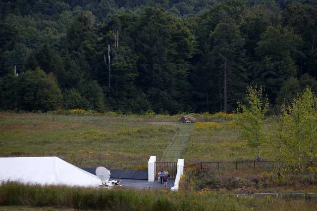 This is the view from the Flight 93 Visitors Center Complex, of the impact area, marked by the boulder, center rear, of Flight 93 at the Flight 93 National Memorial in Shanksville, Pennsylvania, o ...