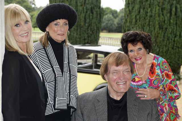 FILE - In this Sept. 21, 2012 file photo, actors, from left, Britt Ekland, Tania Mallet,  Richard Kiel and Eunice Gayson pose at a photocall for the Bond 50 anniversary, in London. Kiel, the tower ...