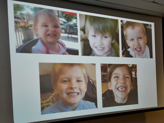 Photos of Timothy Ray Jones Jr. children are on display during a news conference at the Lexington County Sheriff's Dept Training Center in Lexington, S.C., Wednesday, Sept. 10, 2014.  Jones Jr., 3 ...