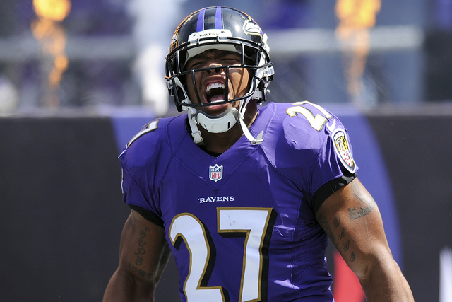 In this Sept. 15, 2013, file photo, Baltimore Ravens running back Ray Rice yells during his introduction before an NFL football game against the Cleveland Browns in Baltimore. (AP Photo/Nick Wass, ...